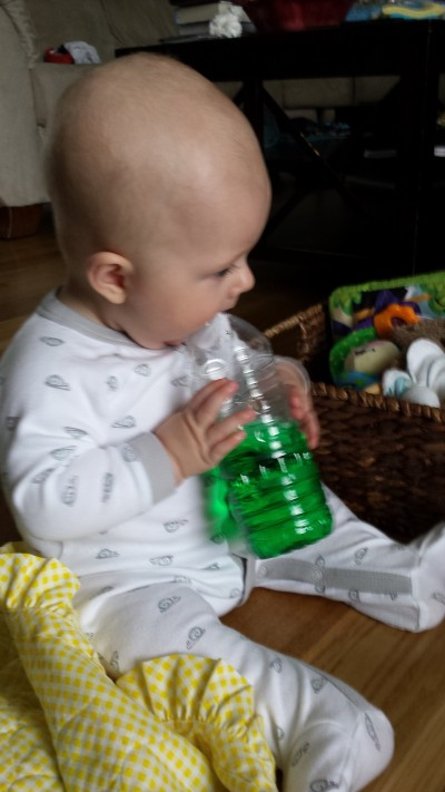 Chewing on a sensory bottle